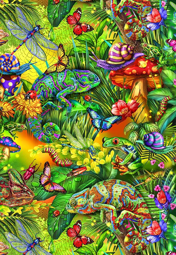 Fantastic Forest - Chameleon & Friends - Jungle Green