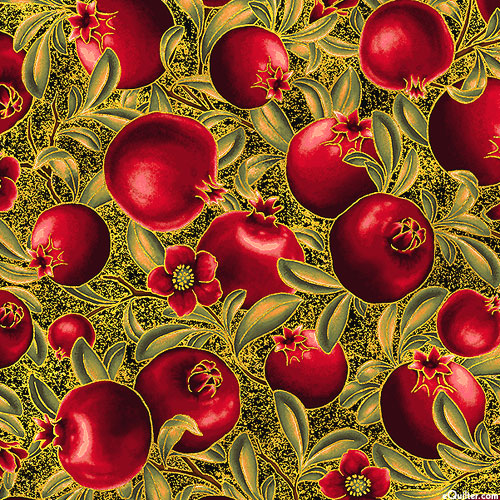 Bounty of the Season - Fall Pomegranates - Black/Gold