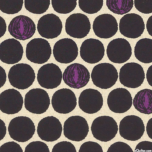 Japan Import - Big Dots - Black/Natural - COTTON/FLAX