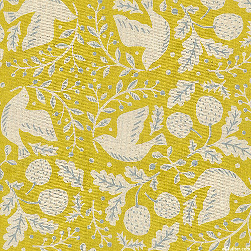 Japan Import - Doves & Sprigs - Chartreuse/Natural - COTTON/FLAX