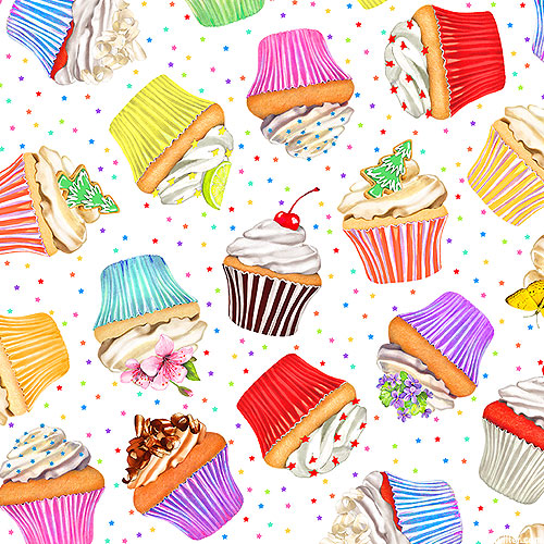 Sweet Tooth - Cupcake Party - White - DIGITAL PRINT