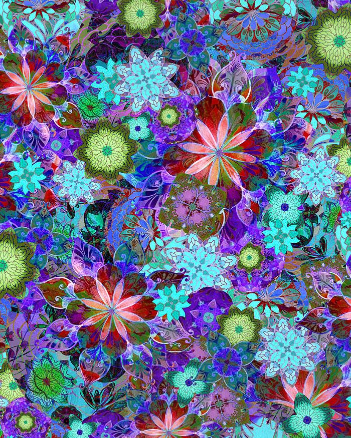 Venice - Glass Flower Mosaic - Lapis - DIGITAL PRINT