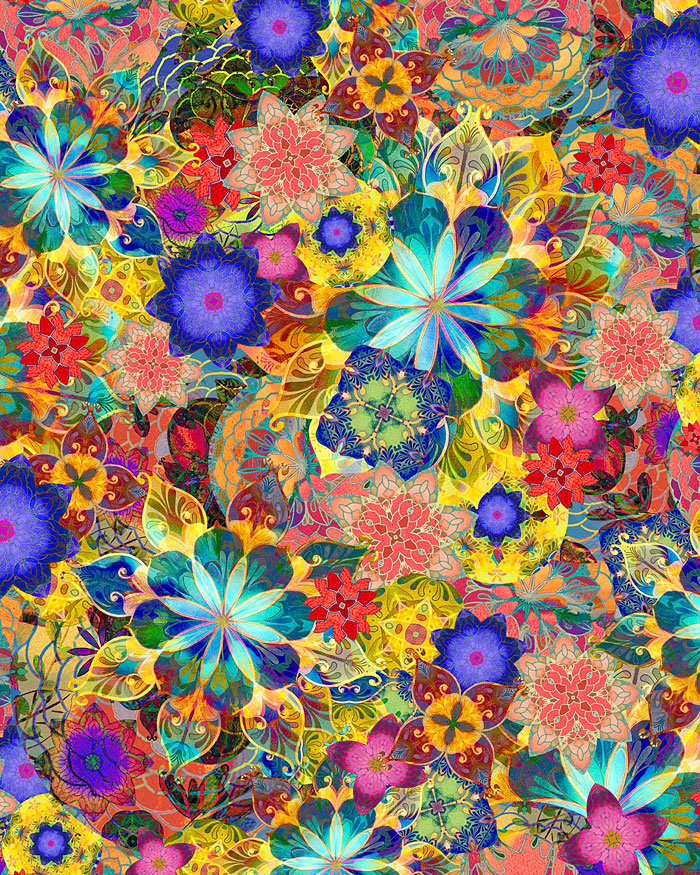 Venice - Glass Flower Mosaic - Multi - DIGITAL PRINT