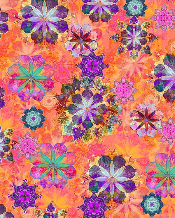 Venice - Floating Flowers - Coral - DIGITAL PRINT
