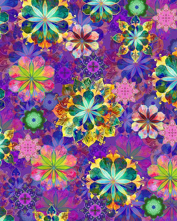 Venice - Floating Flowers - Amethyst Purple - DIGITAL PRINT