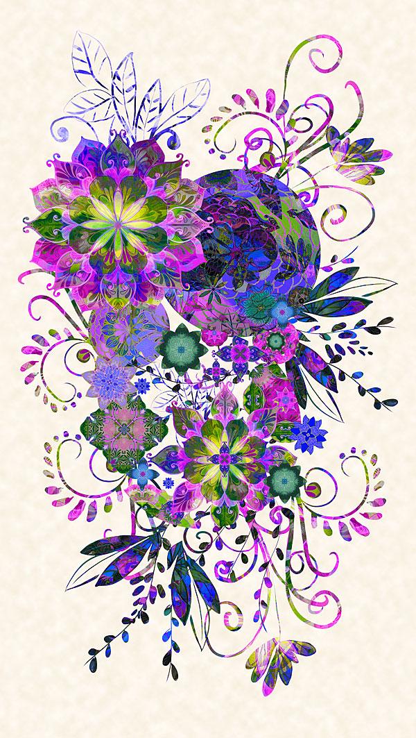 """Venice - Carnival Bouquet - Purple - 24"""" x 44"""" PANEL - DIGITAL"""