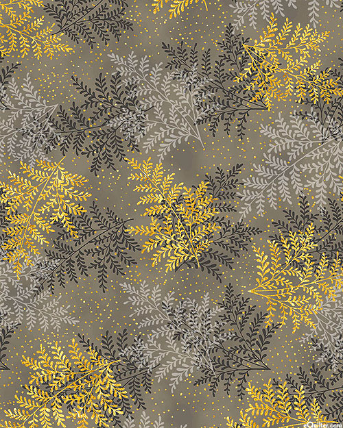 A Walk on the Path - Scattered Ferns - Mushroom Brown/Gold