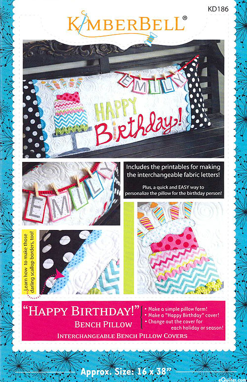 Happy Birthday Bench Pillow - Pattern by Kimberbell Designs