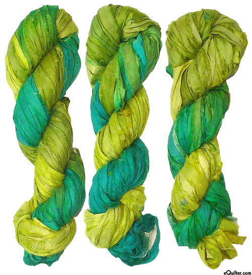 Silk Sari Ribbon - Variegated - Emerald Isle