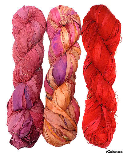 Silk Sari Ribbon - Shades of Ruby