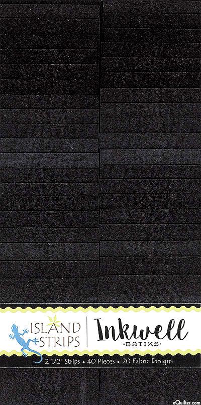 "Island Batik - Inkwell Solid Hand-Dye - 2 1/2"" Strips"