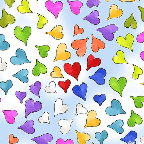 Cat Happy - Rainbow of Hearts - Powder Blue