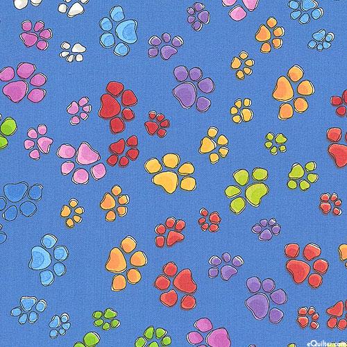 Go Doggie! - Rainbow of Paw Prints - Dk Blue