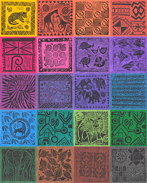 South African Hand-Stamped Hand-Dyes Sampler - Block Packet