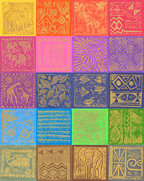 South African Gold Metallic Stamped Hand-Dyes - Swatch Packet