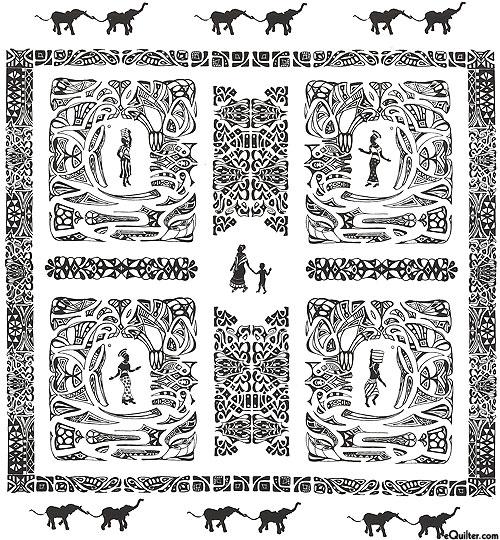 "Tribal Ladies Stamped Hand-Dye - White/Black - 25"" x 29"" PANEL"