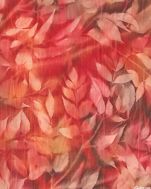 "Leaf Impression Sun Cloth - Berry Red - 60"" WIDE"