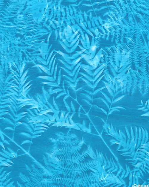 "Leaf Impression Sun Cloth - Turquoise - 60"" WIDE"