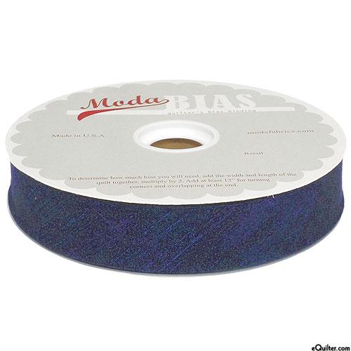 "Quilter's Bias Binding - 2 1/2"" Wide - Grunge - Navy Blue"