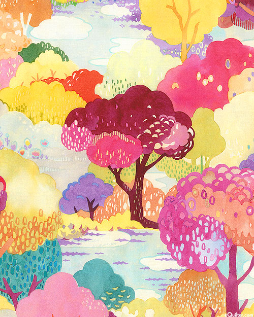 Fanciful Forest - Blooming Trees - Raspberry Red