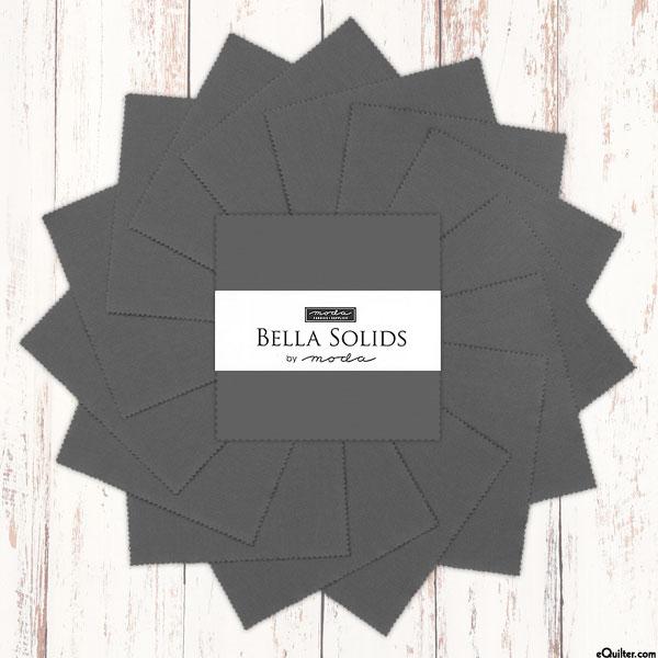"Bella Solids - Graphite Gray - 5"" Charm Pack"