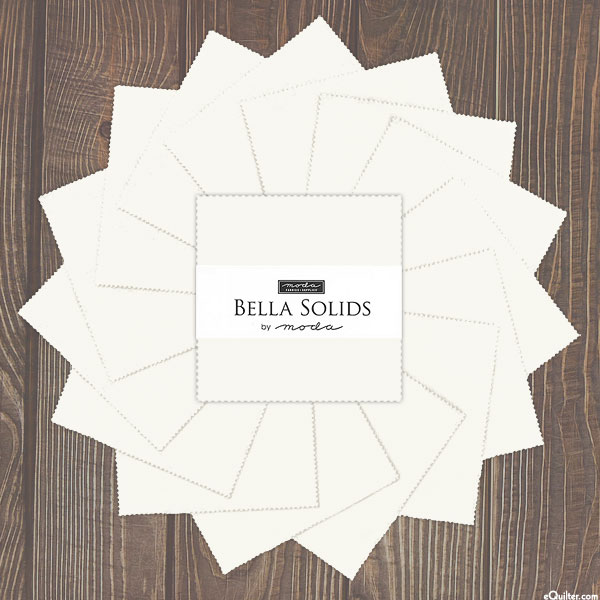 "Bella Solids - Feather Off-White - 5"" Charm Pack"