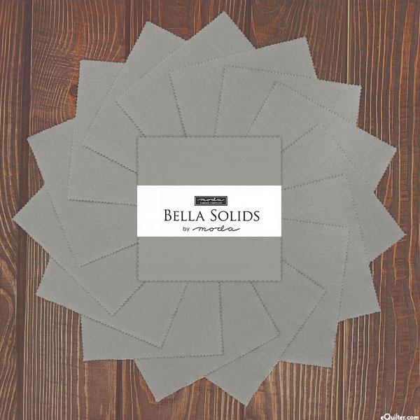 "Bella Solids - Steel Gray - 5"" Charm Pack"