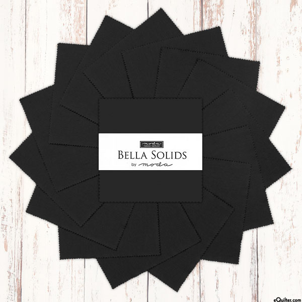 "Bella Solids - Black - 5"" Charm Pack"