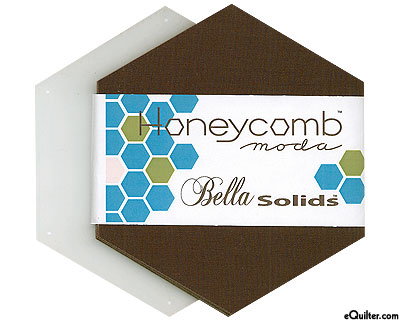 Honeycomb Bella Solids Hexagon Charm Pack - Coffee Brown