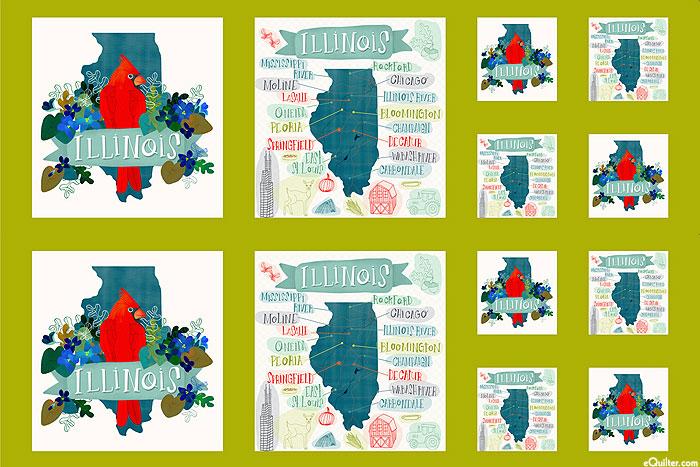 "Lakeside Story - Illinois Map - Bright Green - 28"" x 44"" PANEL"