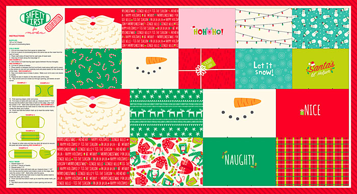 """Safety First Face Masks - Christmas - 24"""" x 44"""" PANEL"""