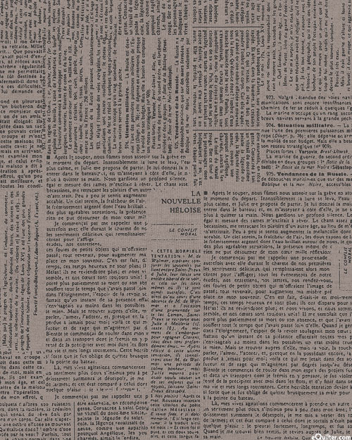 """Compositions - Newspaper Entries - Ash Gray- 108"""" QUILT BACKING"""