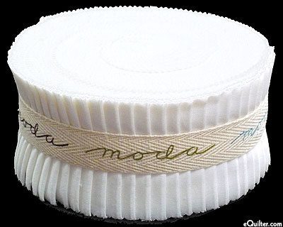 "Bella Solids Jelly Roll - White - 2 1/2"" Strips"