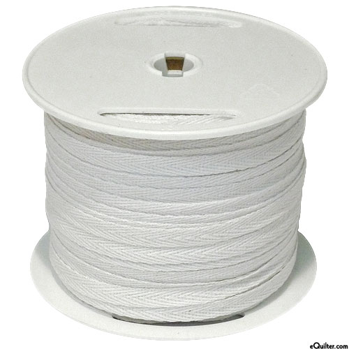 """Cotton Twill Tape - White - 1/4"""" Wide - 100 yd Spool"""