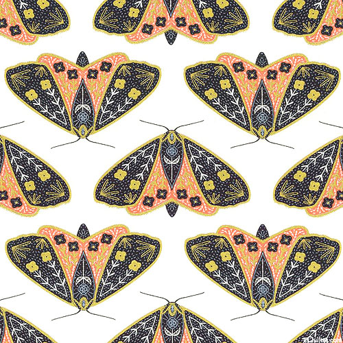 Dwell in Possibility - Golden Moths - Papaya/White/Gold