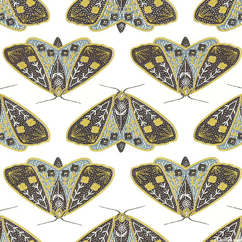 Dwell in Possibility - Golden Moths - Gray/White/Gold