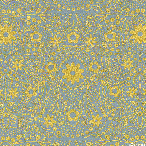 Dwell in Possibility - Shimmering Floral - Gray/Gold