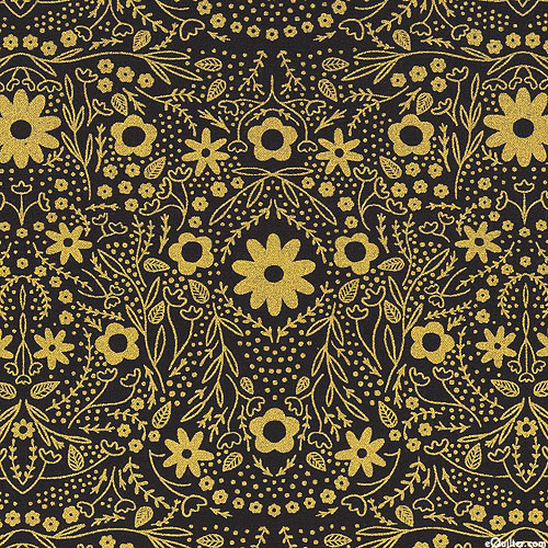 Dwell in Possibility - Shimmering Floral - Black/Gold
