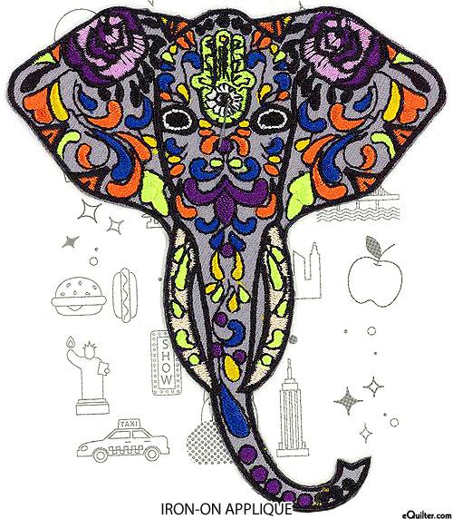 "Embroidery Appliqué - Hippy Elephant - Gray - 5"""