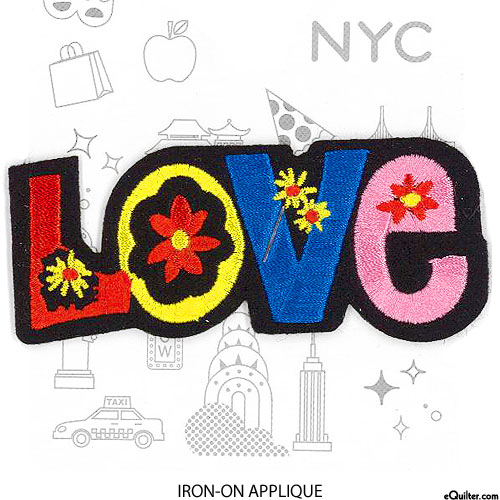 Embroidery Appliqué - Love - Multi - 4""