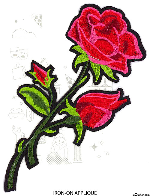 Embroidery Appliqué - Sweet Rose - Pink & Red - 7""
