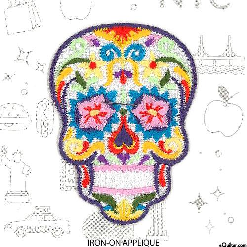 "Embroidery Appliqué - Floral Sugar Skull - White - 2-3/4"""