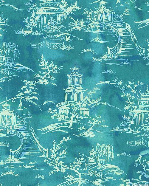 Floral Fantasy - Orient Express - Teal - DIGITAL PRINT