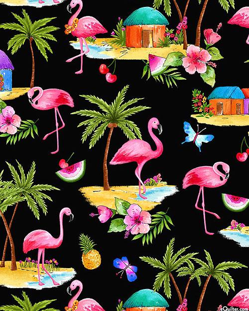 Greetings From - Pink Flamingos - Black - DIGITAL PRINT