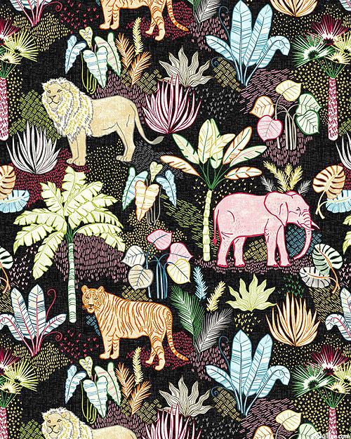 Jungle Vibes - Flora And Fauna - Black - DIGITAL PRINT