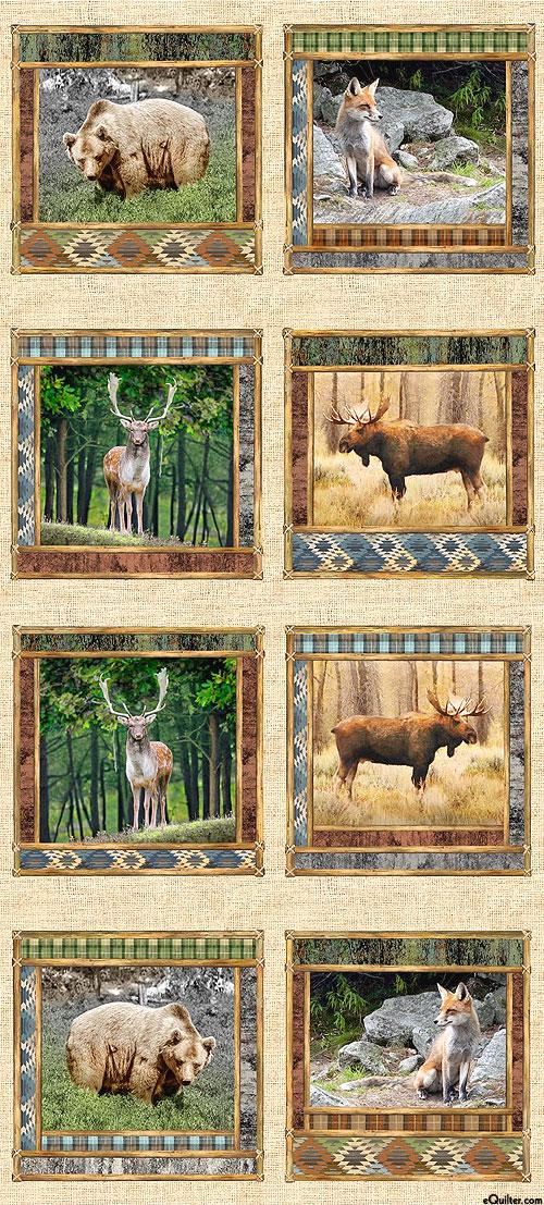 "Wild Thing - Animal Portrait Frames - Straw - 25"" x 44"" PANEL"