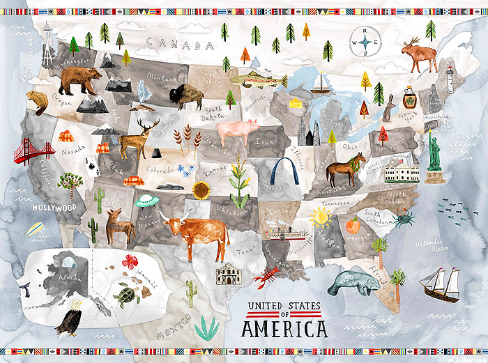 """East To West - Map of America - Pewter Gray - 32"""" x 44"""" - PANEL"""
