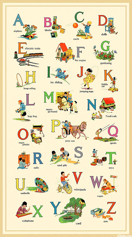 "Vintage Treasures - Alphabet List - Cream - 24"" x 44"" PANEL"