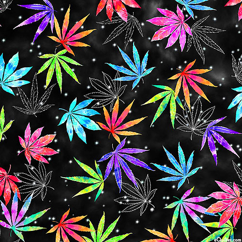 Good Vibes Only - Cannabis Tie Dye - Black
