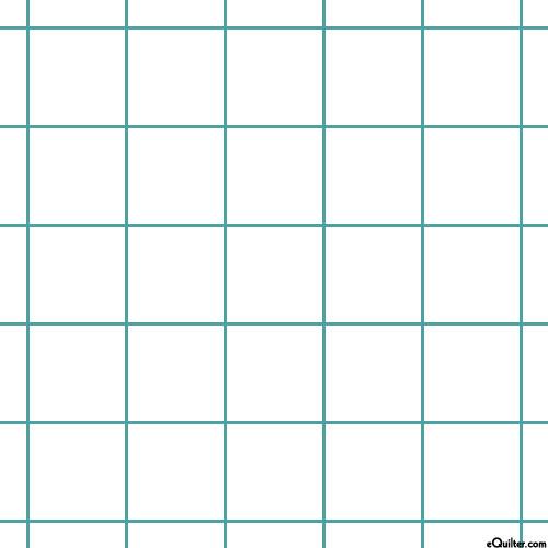 """Flannel Design Grid - White/Jade - 56"""" Wide"""